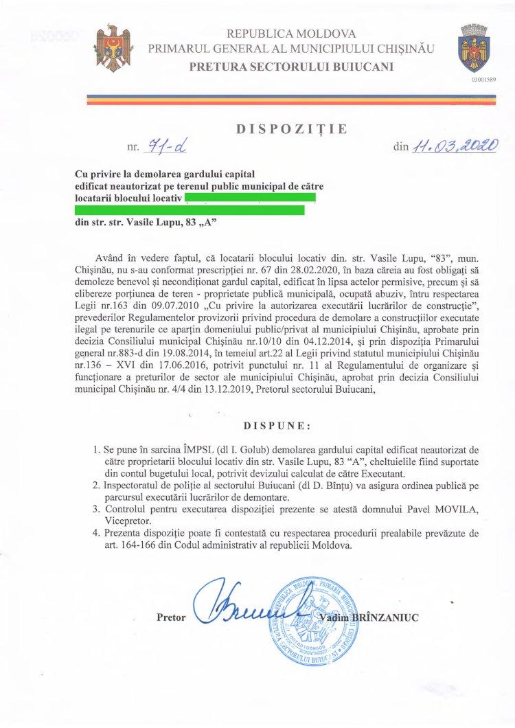Dispoziție nr 71-d din 11.03.2020 cu privire la demolarea gardului capital edificat neautorizat pe terenul public municipal de către locatarii blocului locativ din str. V. Lupu, 83A