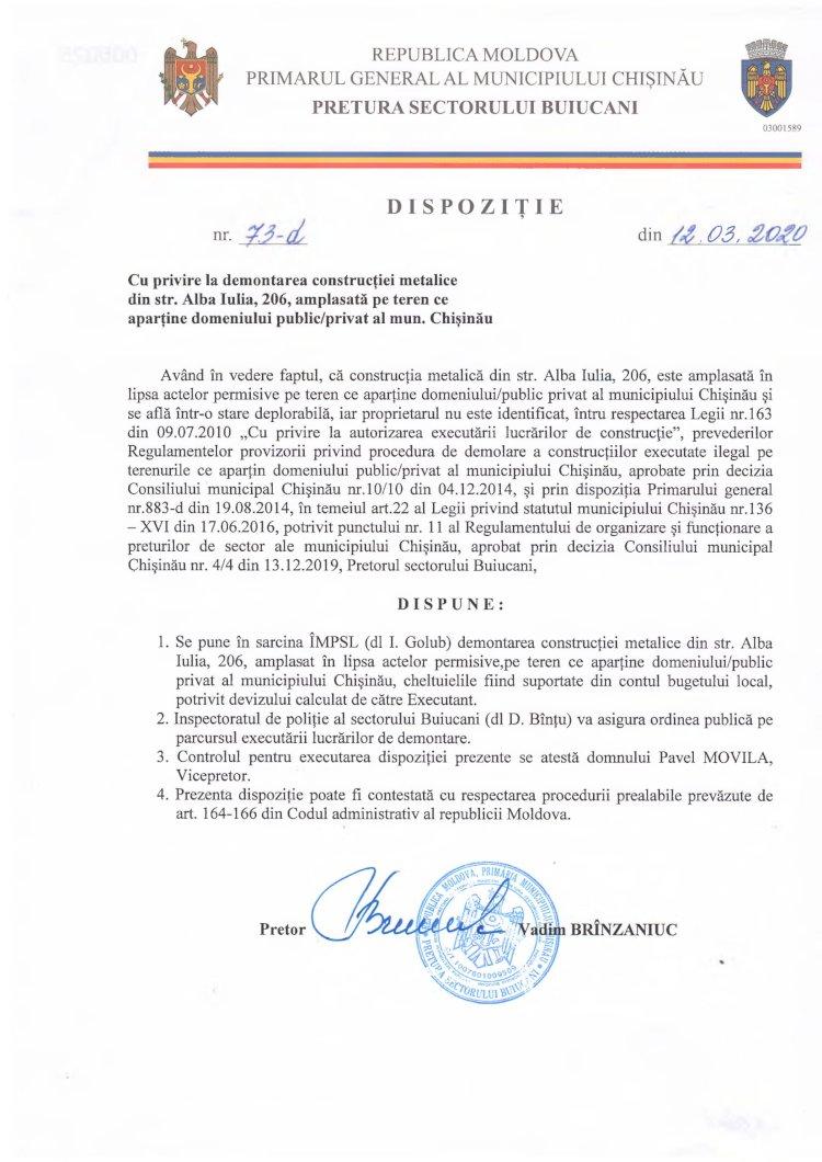 Dispoziție nr 73-d din 12.03.2020 cu privire la demontarea construcției metalice din str. Alba-Iulia, 206, amplasată pe teren ce aparține domeniului public/privat al mun. Chișinău