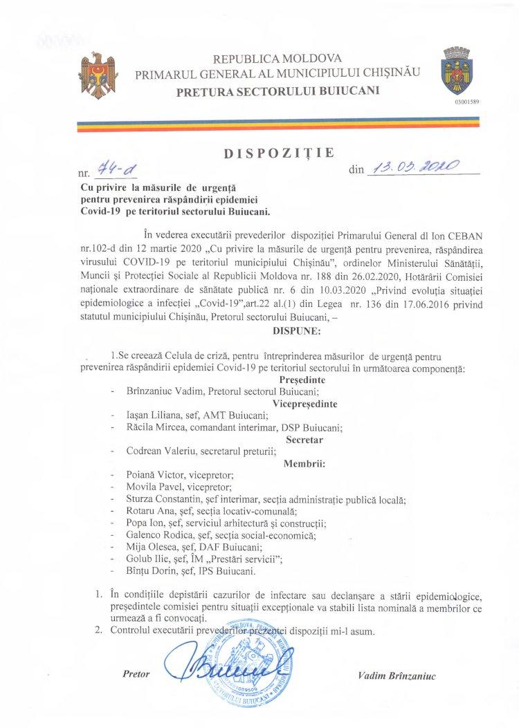 Dispoziție nr 74-d din 13.03.2020 cu privire la măsurile de urgență pentru prevenirea răspândirii epidemiei Covid-19 pe teritoriul s. Buiucani