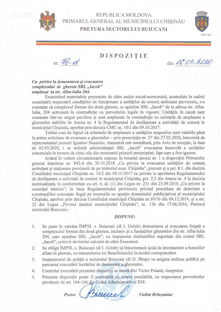 """Dispoziție nr 76-d din 16.03.2020 cu privire la demontarea și evacuarea complexului de gherete SRL """"Iacob"""" amplasat la str. Alba-Iulia, 204"""