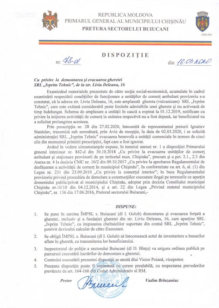 """Dispoziție nr 78-d din 16.03.2020 cu privire la demontarea și evacuarea gheretei SRL """"Ivprim Tehnic"""" de la str. L. Deleanu, 16"""