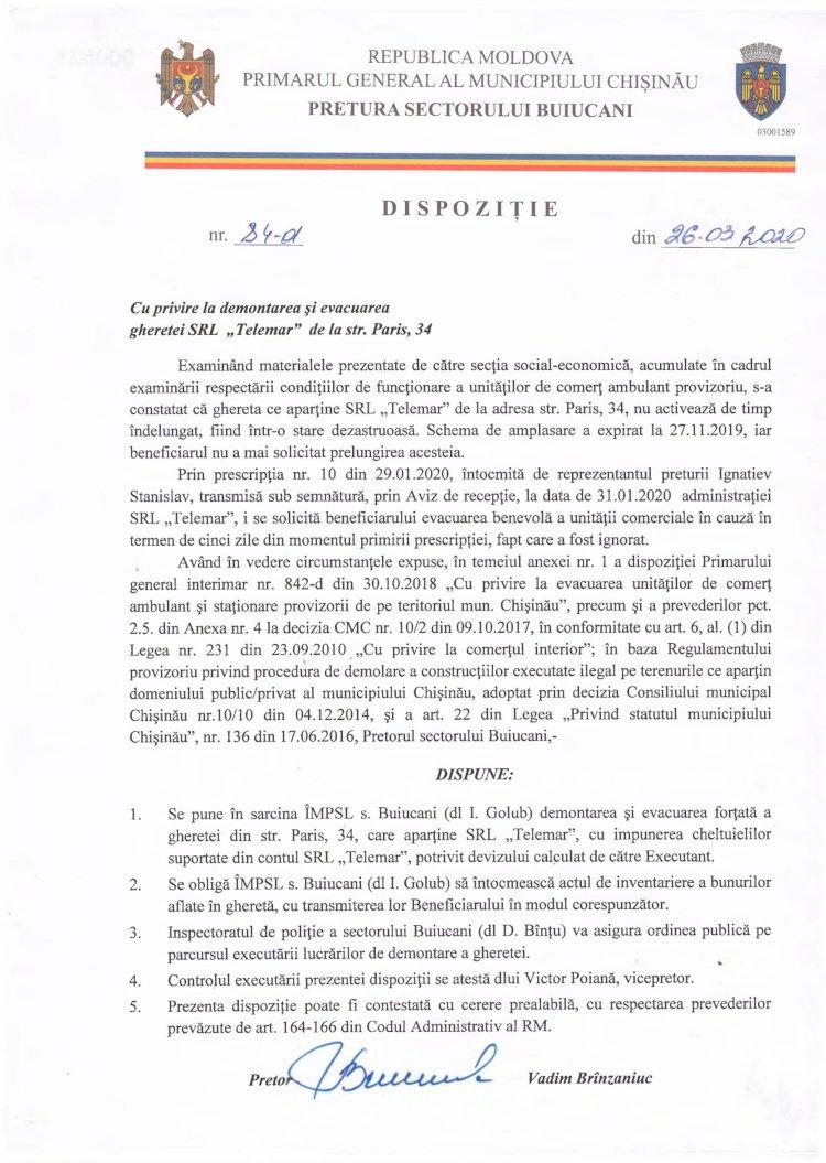 """Dispoziție nr 84-d din 26.03.2020 cu privire la demontarea și evacuarea gheretei SRL """"Telemar"""" de la str. Paris, 34"""