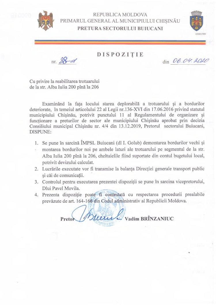 Dispoziție nr 88-d din 06.04.2020 cu privire la reabilitarea trotuarului de la str. Alba-Iulia 200 până la 206