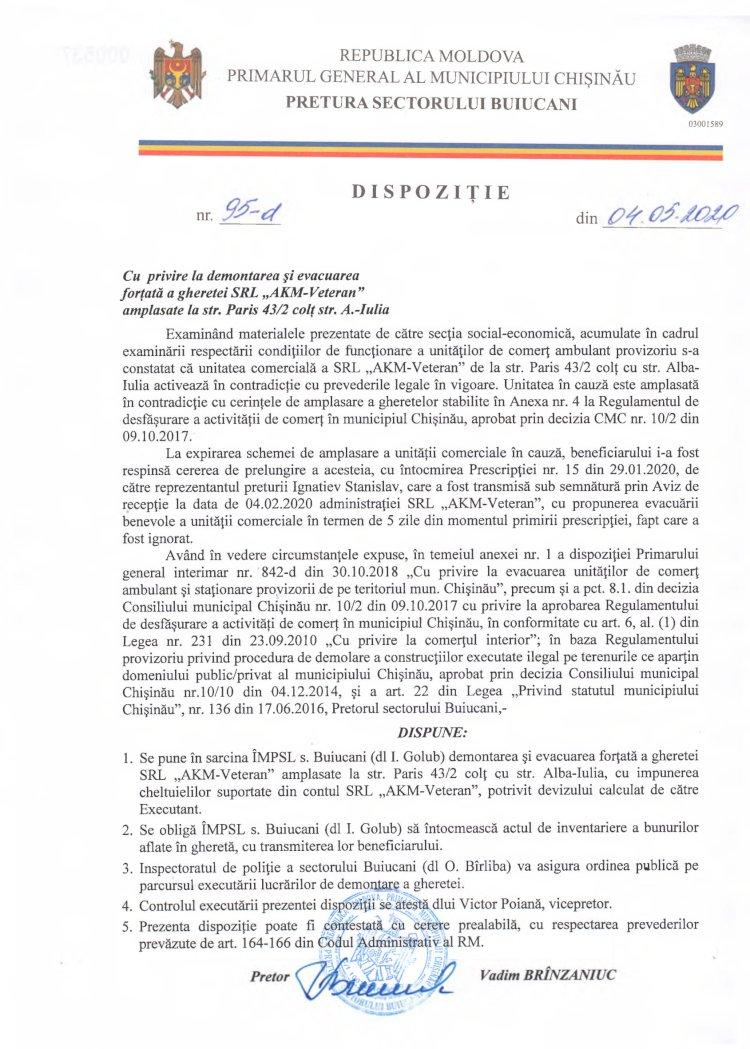 """Dispoziție nr 95-d din 04.05.2020 cu privire la demontarea și evacuarea forțată a gheretei SRL """"AKM-Veteran"""" amplasate la str. Paris 43/2 colț str. Alba-Iulia"""