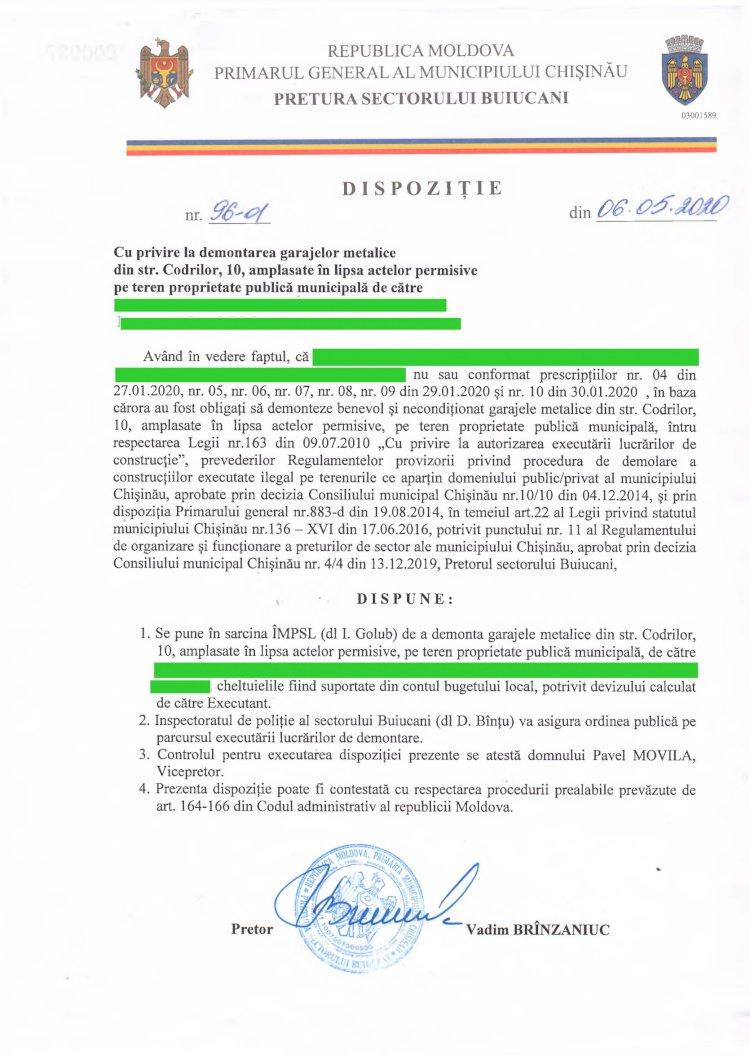 Dispoziție nr 96-d din 06.05.2020 cu privire la demontarea garajelor metalice din str. Codrilor, 10, amplasate în lipsa actelor permisive pe teren  proprietate publică municipală