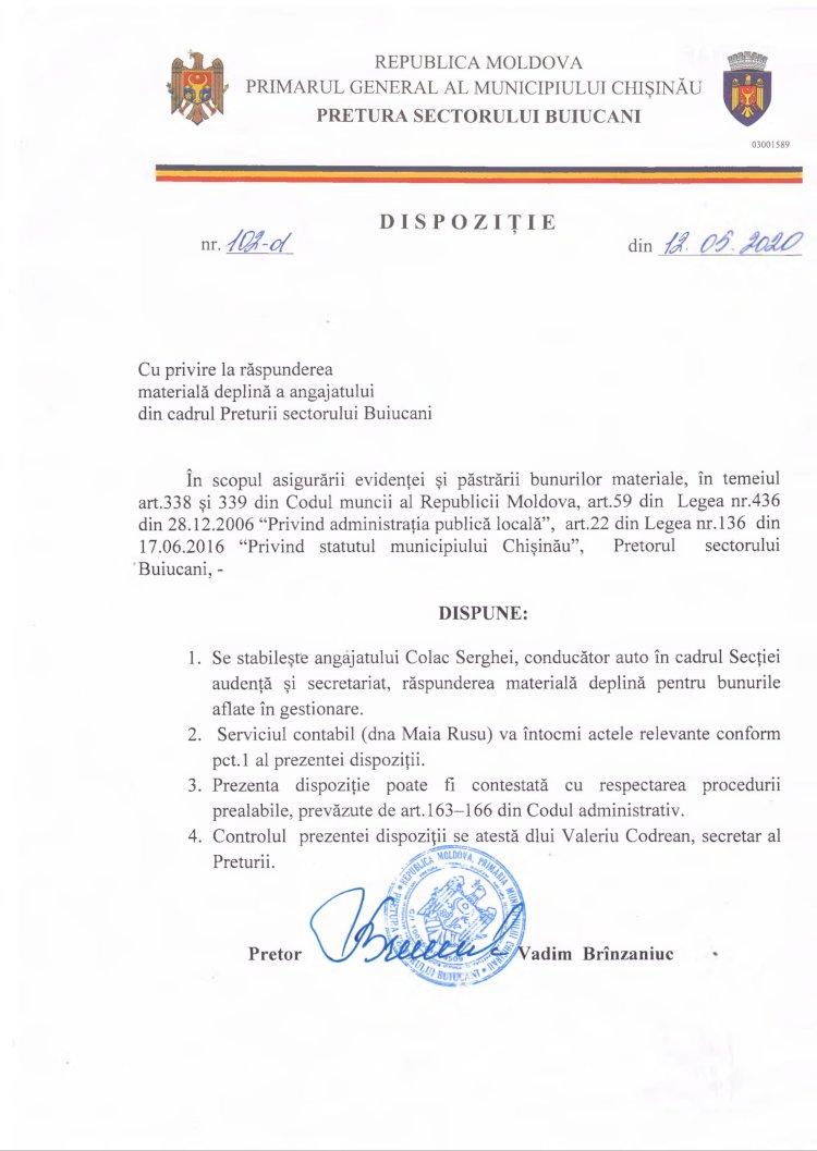 Dispoziție nr 102-d din 12.05.2020 cu privire la răspunderea materială deplină a angajatului din cadrul Preturii s. Buicani