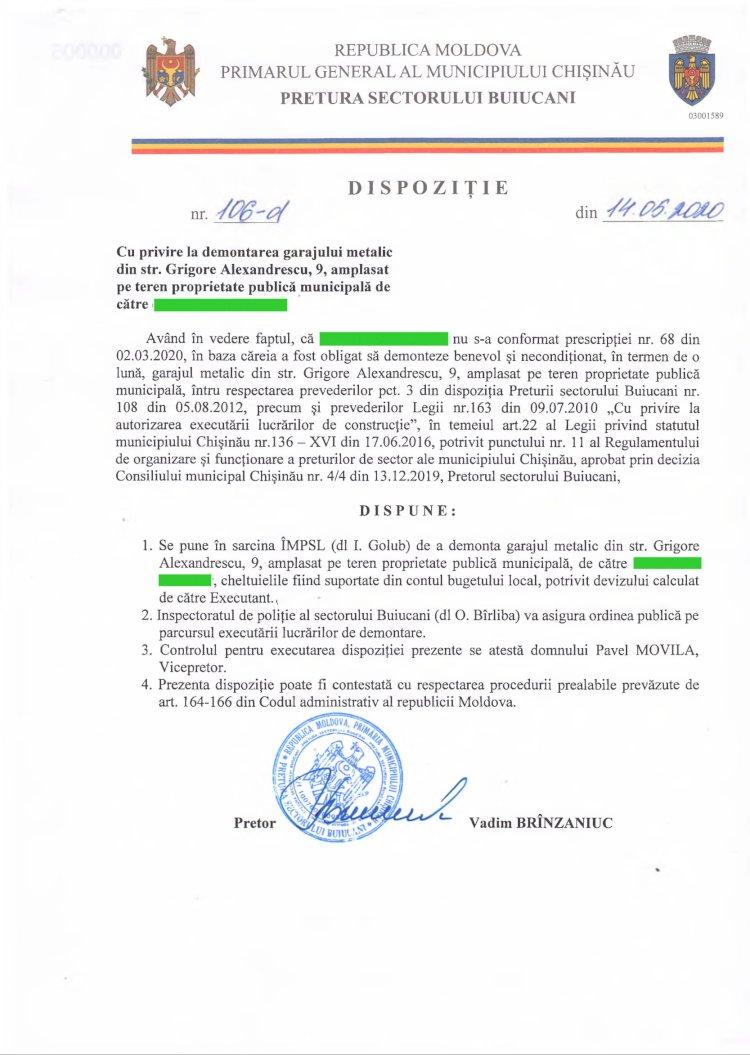 Dispoziție nr 106-d din 14.05.2020 cu privire la demontarea garajului metalic din str. G. Alexandrescu, 9, amplasat pe teren proprietate publică municipală