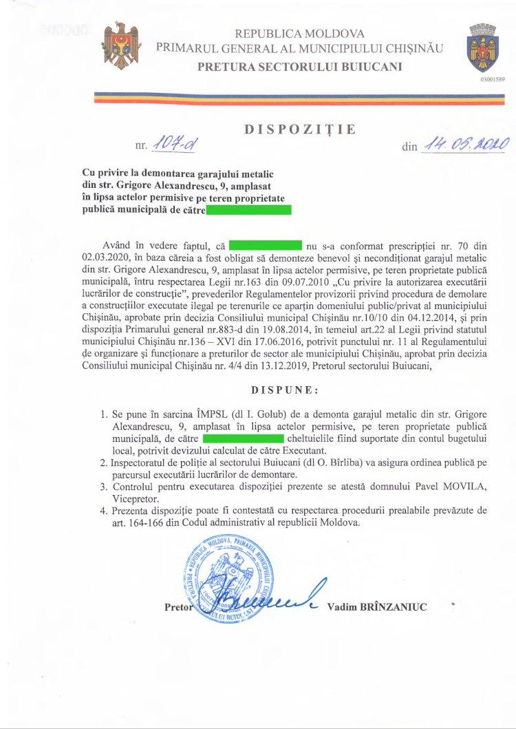 Dispoziție nr 107-d din 14.05.2020 cu privire la demontarea garajului metalic din str. G. Alexandrescu, 9, amplasat în lipsa actelor permisive pe teren proprietate publică municipală
