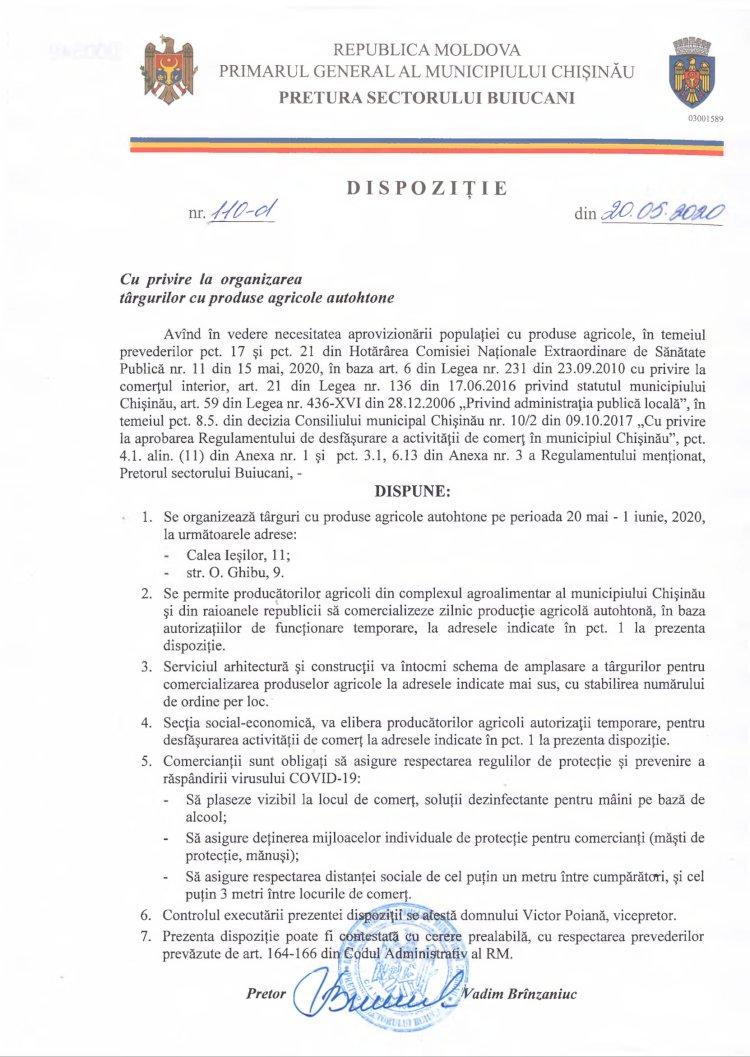 Dispoziție nr 110-d din 20.05.2020 cu privire la organizarea târgurilor cu produse agricole autohtone