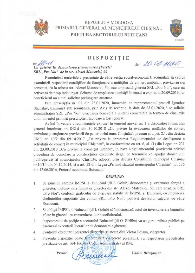 """Dispoziție 111-d din 20.05.2020 cu privire la demontarea și evacuarea gheretei SRL """"Pro Noi"""" de la str. A. Mateevici, 60"""