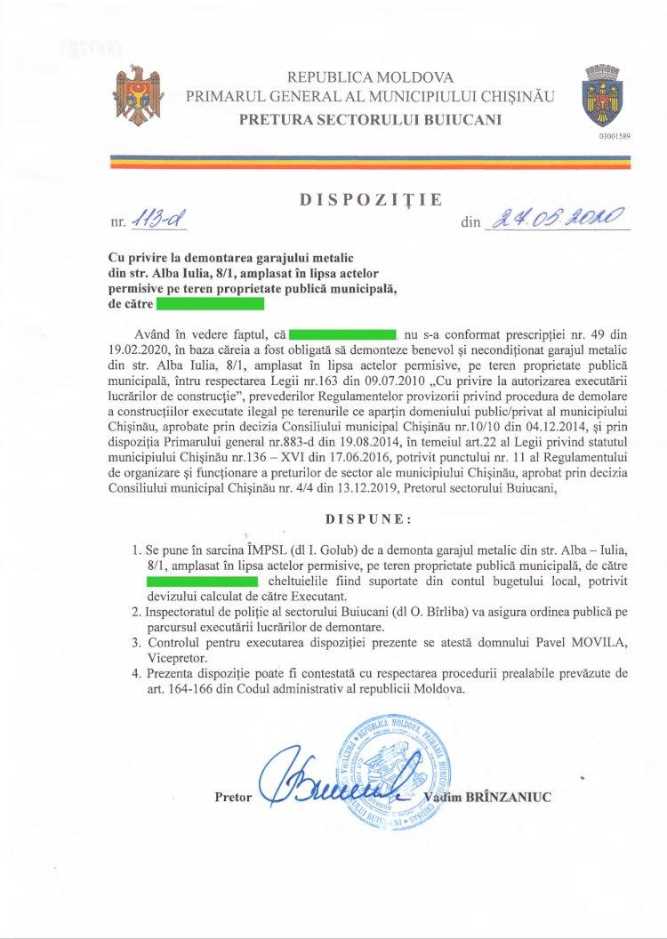 Dispoziție nr 113-d din 27.05.2020 cu privire la demontarea garajului metalic din str. Alba-Iulia, 8/1, amplasat în lipsa actelor permisive pe teren proprietate publică municipală