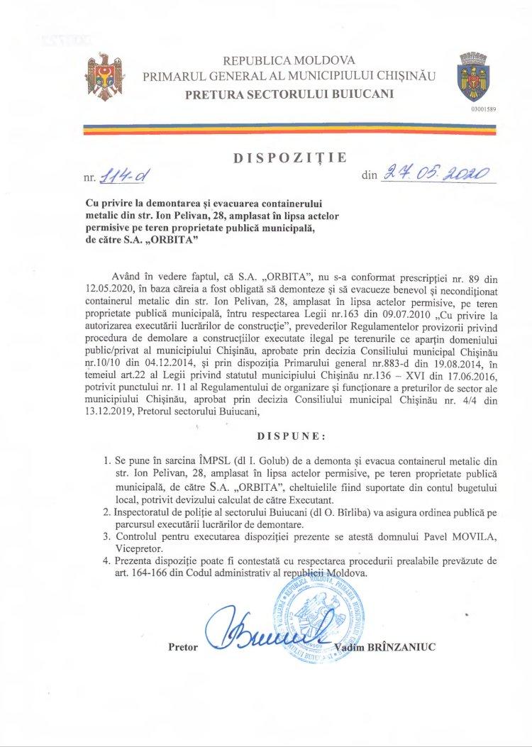 """Dispoziție 114-d din 27.05.2020 cu privire la demontarea și evacuarea containerului metalic din str. I. Pelivan, 28, amplasat în lipsa actelor permisive pe teren proprietate publică municipală, de către SA """"ORBITA"""""""