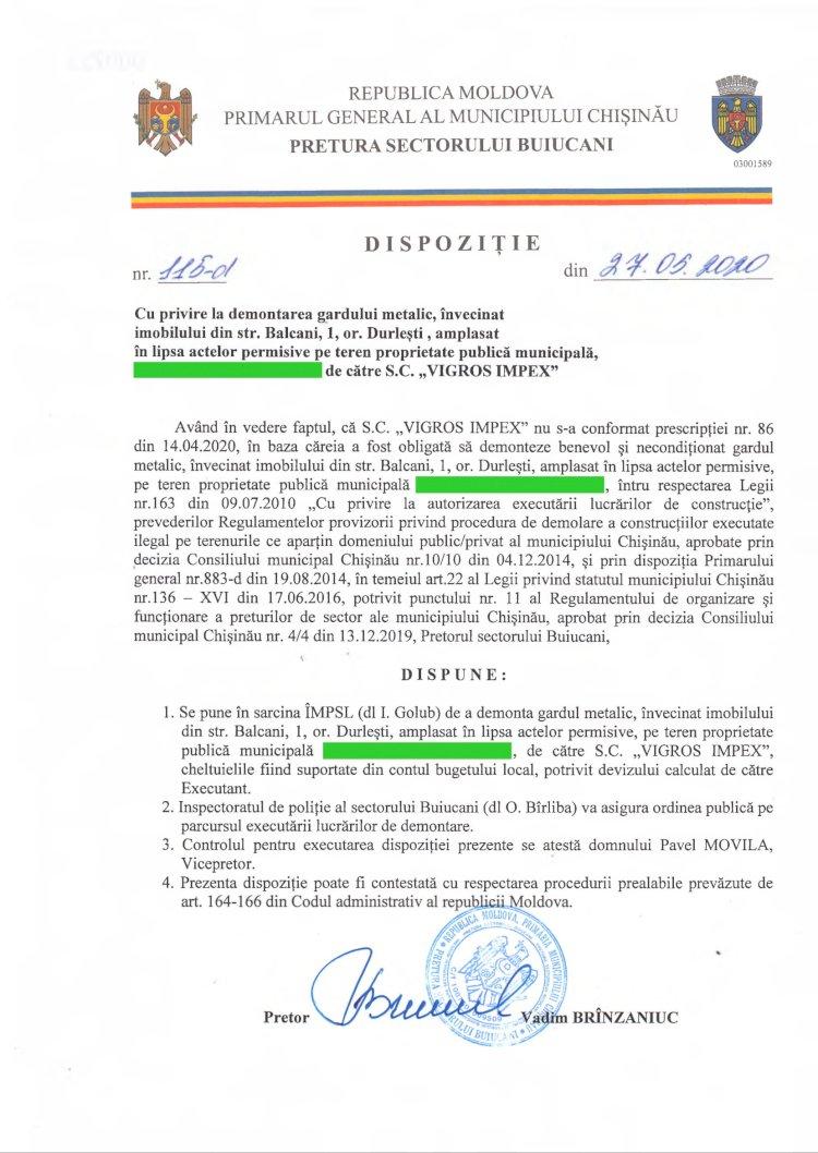 """Dispoziție nr 115-d din 27.05.2020 cu privire la demontarea gardului metalic, învecinat imobilului din str. Balcani, 1, or. Durlești, amplasat în lipsa actelor permisive pe teren proprietate publică municipală, de către SC """"VIGROS IMPEX"""""""