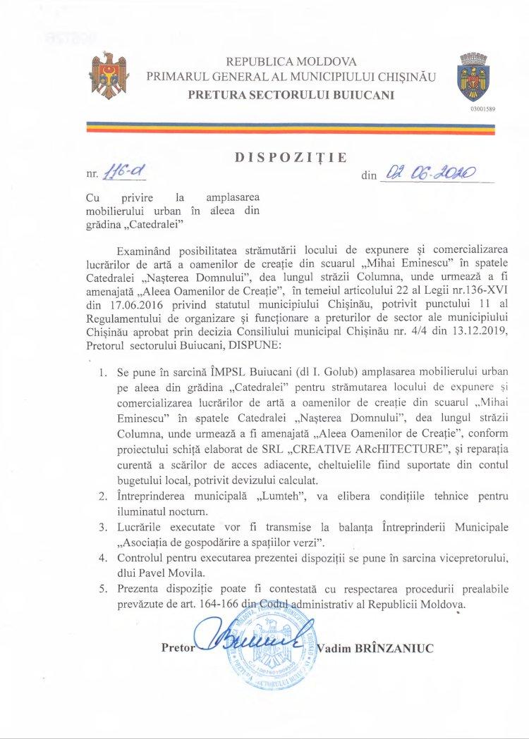 """Dispoziție nr 116-d din 02.06.2020 cu privire la amplasarea mobilierului urban în aleea din grădina """"Catedralei"""""""