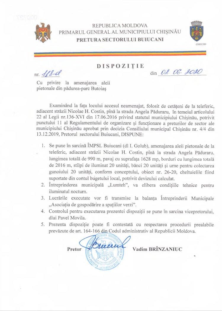 Dispoziție 118-d din 02.06.2020 cu privire la amenajarea aleii pietonale din pădurea-parc Butoiaș