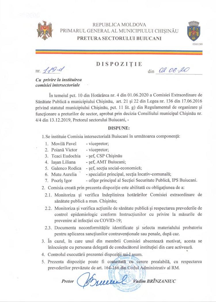 Dispoziție nr 119-d din 02.06.2020 cu privire la instituirea comisiei intersectoriale