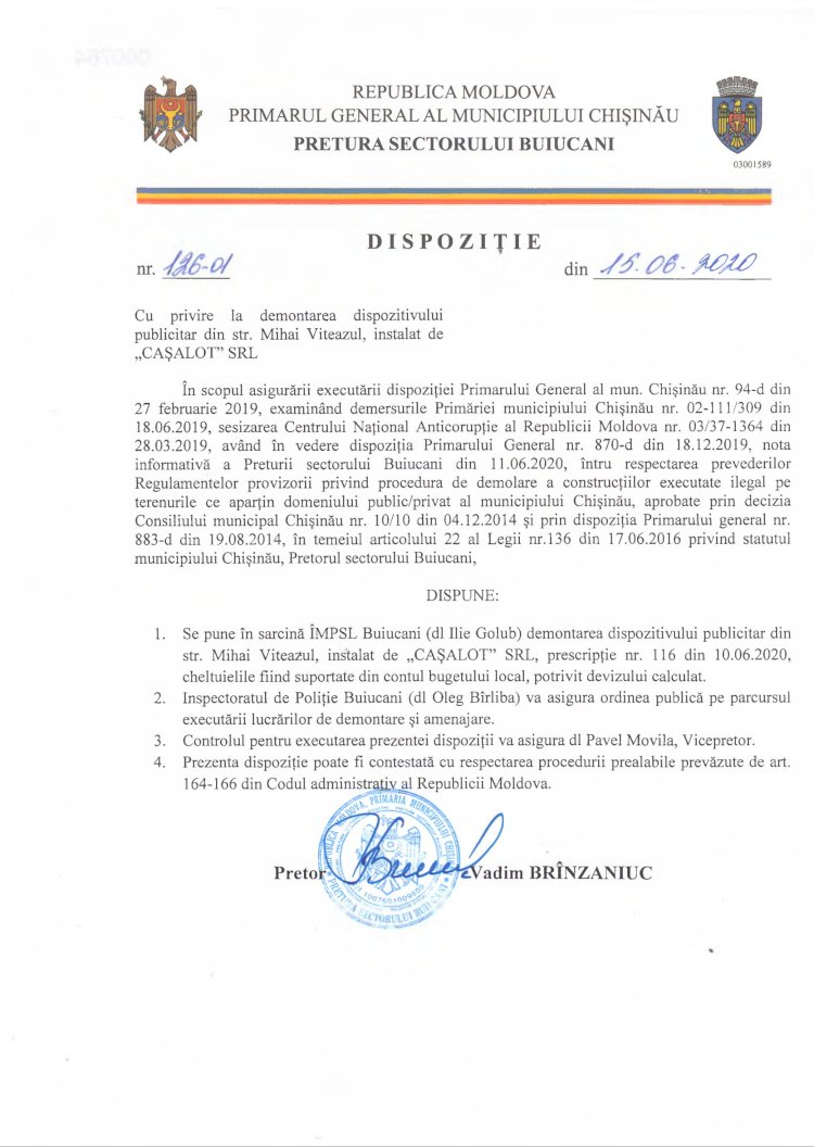 """Dispoziție nr 126-d din 15.06.2020 cu privire la demontarea dispozitivului publicitar din str. M. Viteazul, instalat de """"CAȘALOT"""" SRL"""