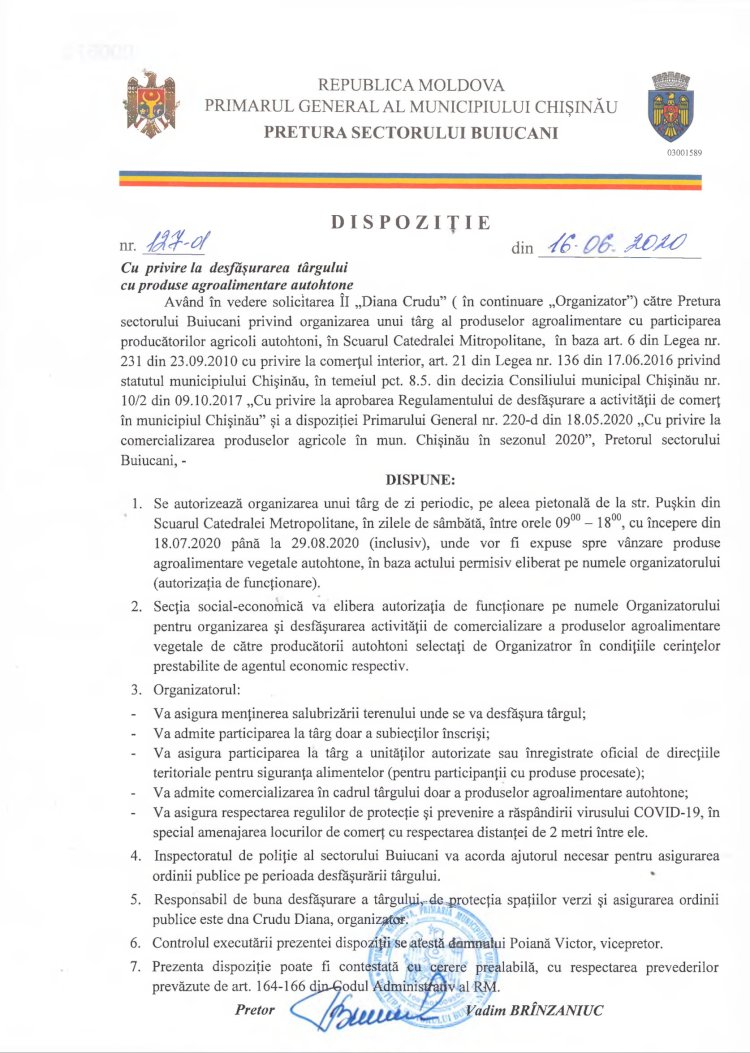 Dispoziție nr 127-d din 16.06.2020 cu privire la desfășurarea târgului cu produse agroalimentare autohtone