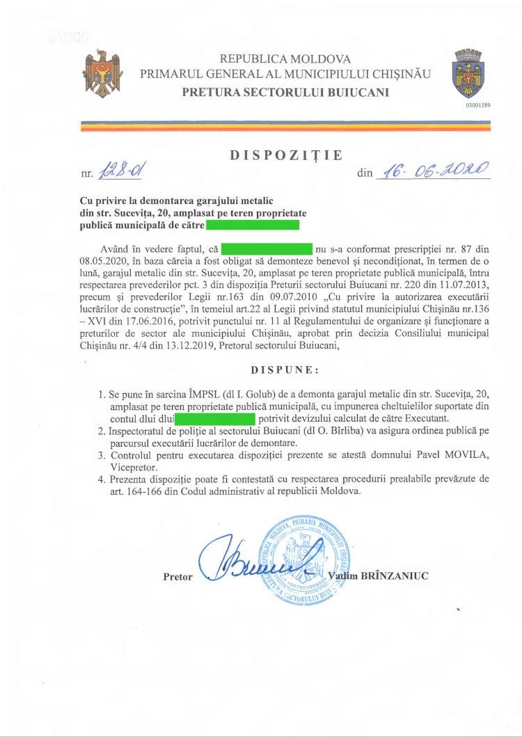 Dispoziție nr 128-d din 16.06.2020 cu privire la demontarea garajului metalic din str. Sucevița, 20, amplasat pe teren proprietate publică municipală