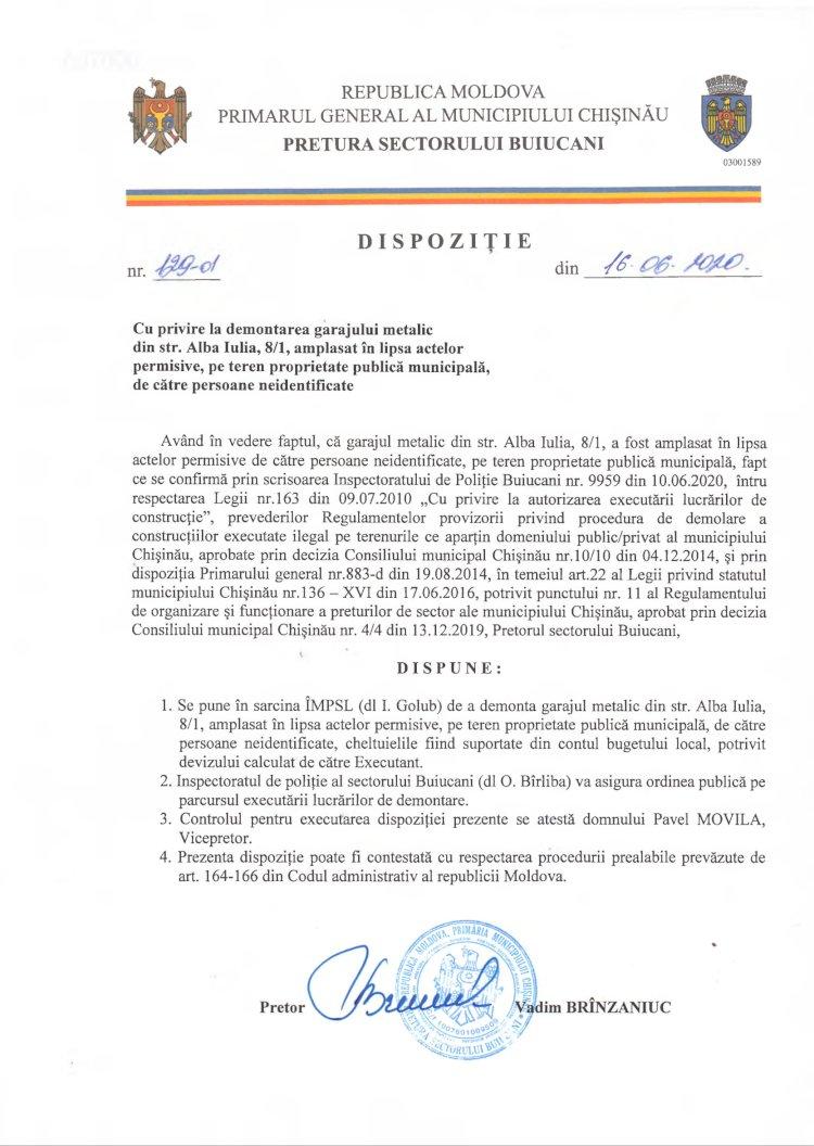 Dispoziție nr 129-d din 16.05.2020 cu privire la demontarea garajului metalic din str. Alba-Iulia, 8/1, amplasat în lipsa actelor permisive, pe teren proprietate publică municipală, de către persoane neidentificate
