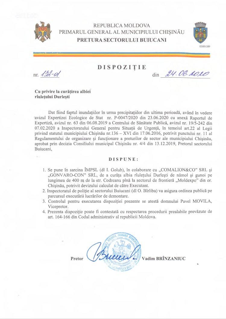 Dispoziție nr 132-d din 24.06.2020 cu privire la curățirea albiei rîulețului Durlești