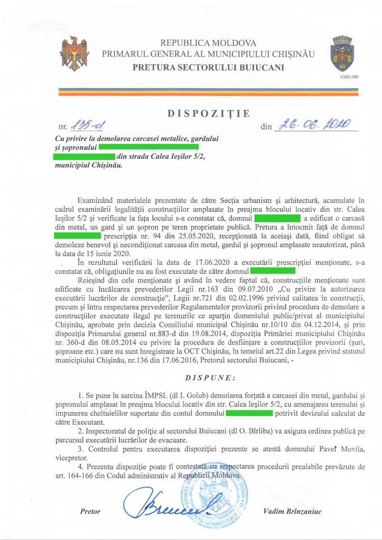 Dispoziție nr 135-d din 26.06.2020 cu privire la demolarea carcasei metalice, gardului și șopronului din str. Calea Ieșilor 5/2, mun. Chișinău