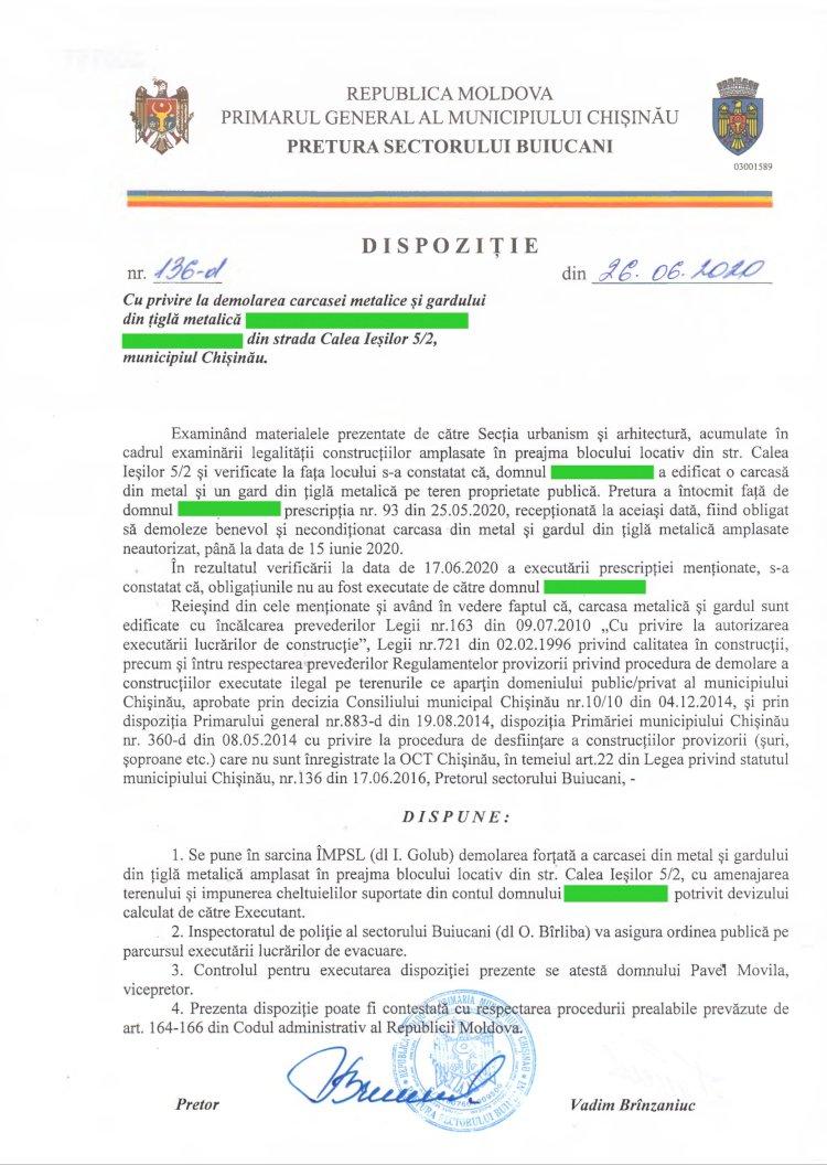 Dispoziție nr 136-d din 26.06.2020 cu privire la demolarea carcasei metalice și gardului din țiglă metalică din str. Calea Ieșilor 5/2, mun. Chișinău