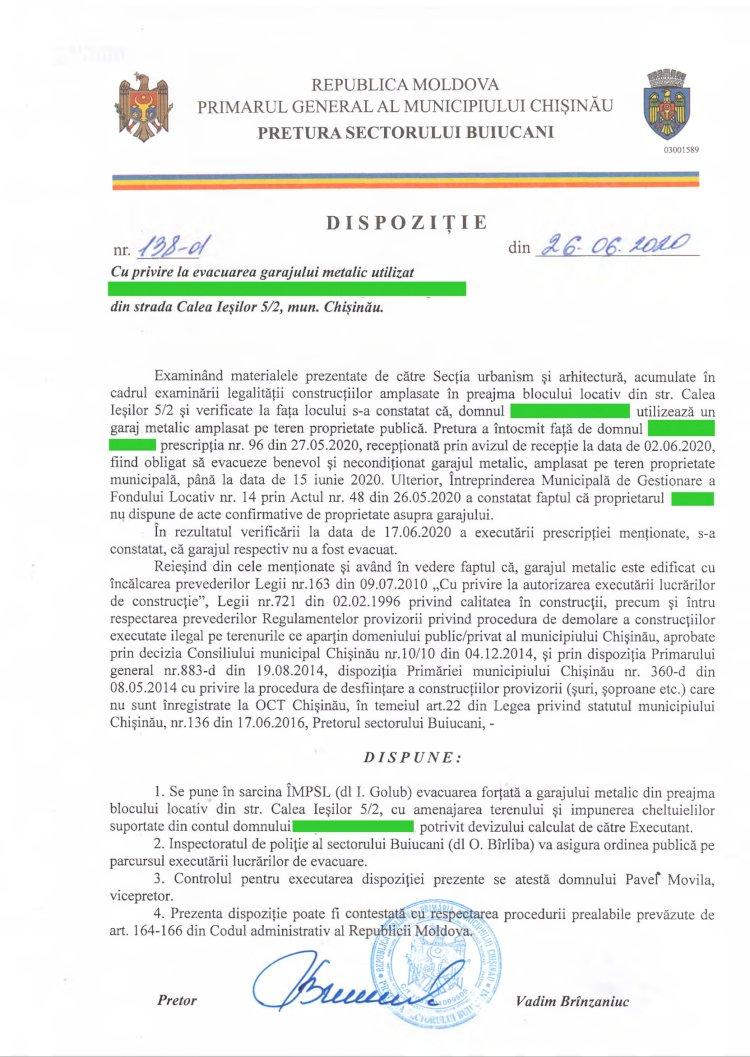 Dispoziție nr 138-d din 26.06.2020 cu privire la evacuarea garajului metalic din str. Calea Ieșilor 5/2, mun. Chișinău