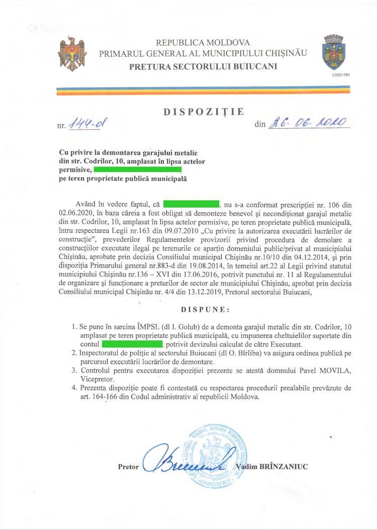 Dispoziție nr 144-d din 26.06.2020 cu privire la demontarea garajului metalic din str. Codrilor, 10, amplasat în lipsa actelor permisive, pe teren proprietate publică municipală
