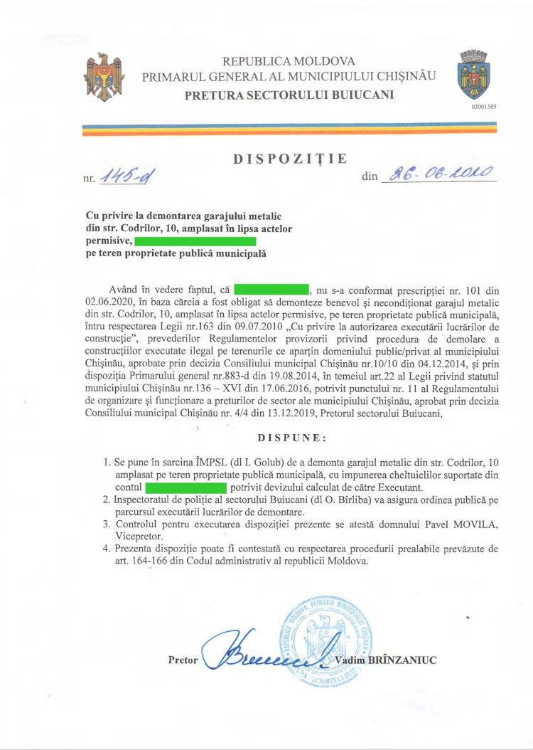 Dispoziție nr 145-d din 26.06.2020 cu privire la demontarea garajului metalic din str. Codrilor, 10, amplasat în lipsa actelor permisive, pe teren proprietate publică municipală