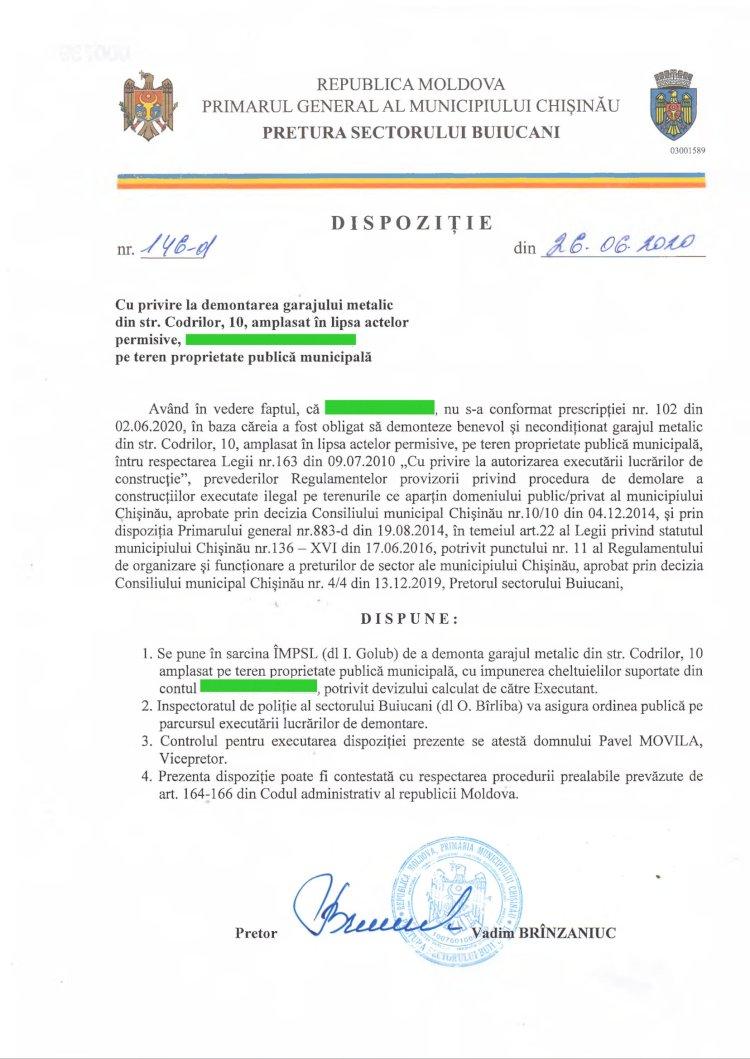 Dispoziție nr 146-d din 26.06.2020 cu privire la demontarea garajului metalic din str. Codrilor, 10, amplasat în lipsa actelor permisive, pe teren proprietate publică municipală