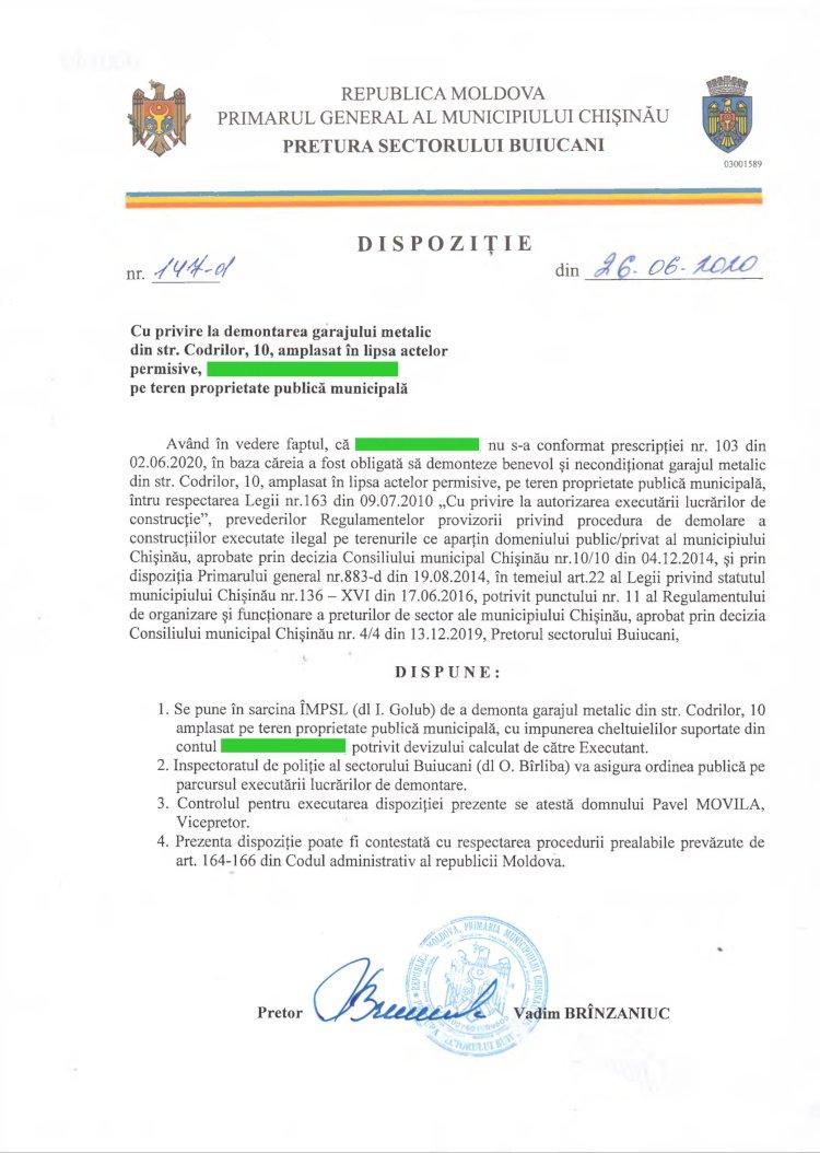 Dispoziție nr 147-d din 26.06.2020 cu privire la demontarea garajului metalic din str. Codrilor, 10, amplasat în lipsa actelor permisive, pe teren proprietate publică municipală