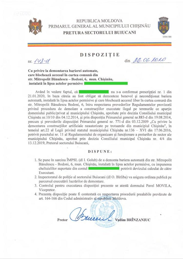 Dispoziție nr 148-d din 26.06.2020 cu privire la demontarea barierei automate, care blochează accesul în curtea comună din str. M. Bănulescu-Bodoni, 6, mun. Chișinău, instalată în lipsa actelor permisive