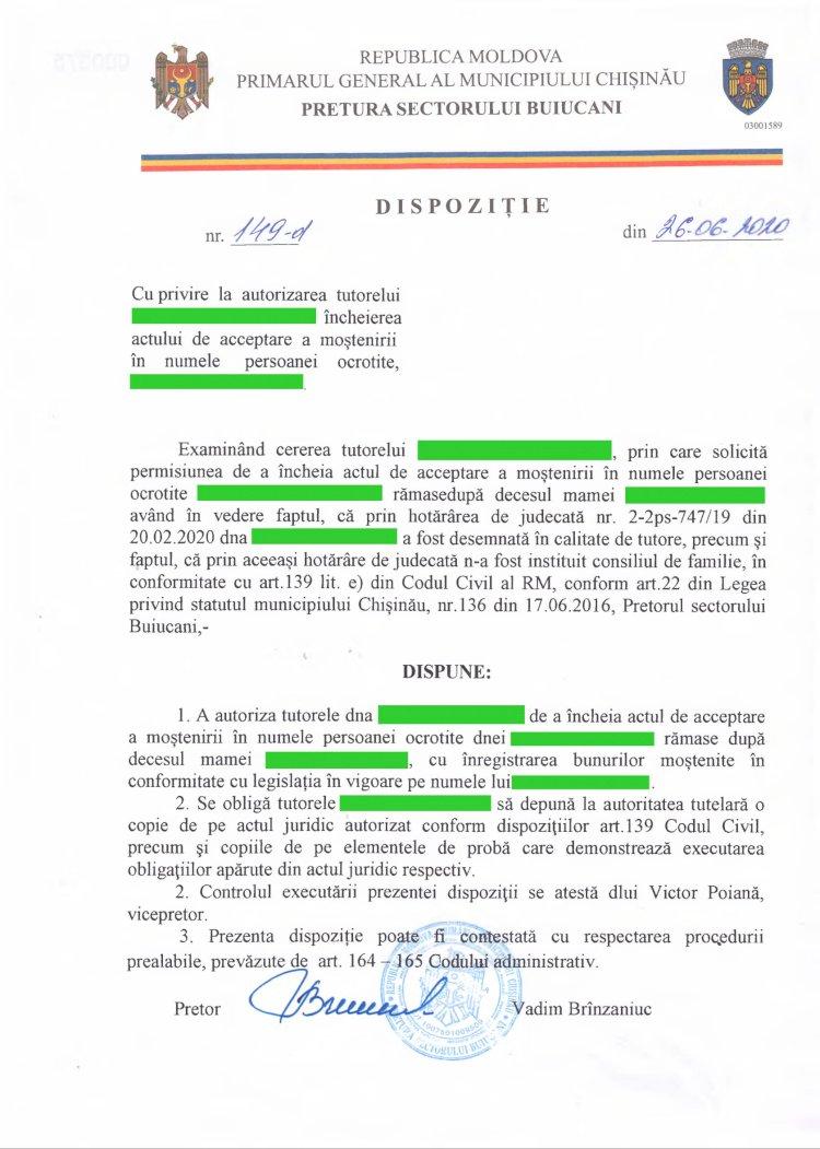 Dispoziție nr 149-d din 26.06.2020 cu privire la autorizarea tutorelui