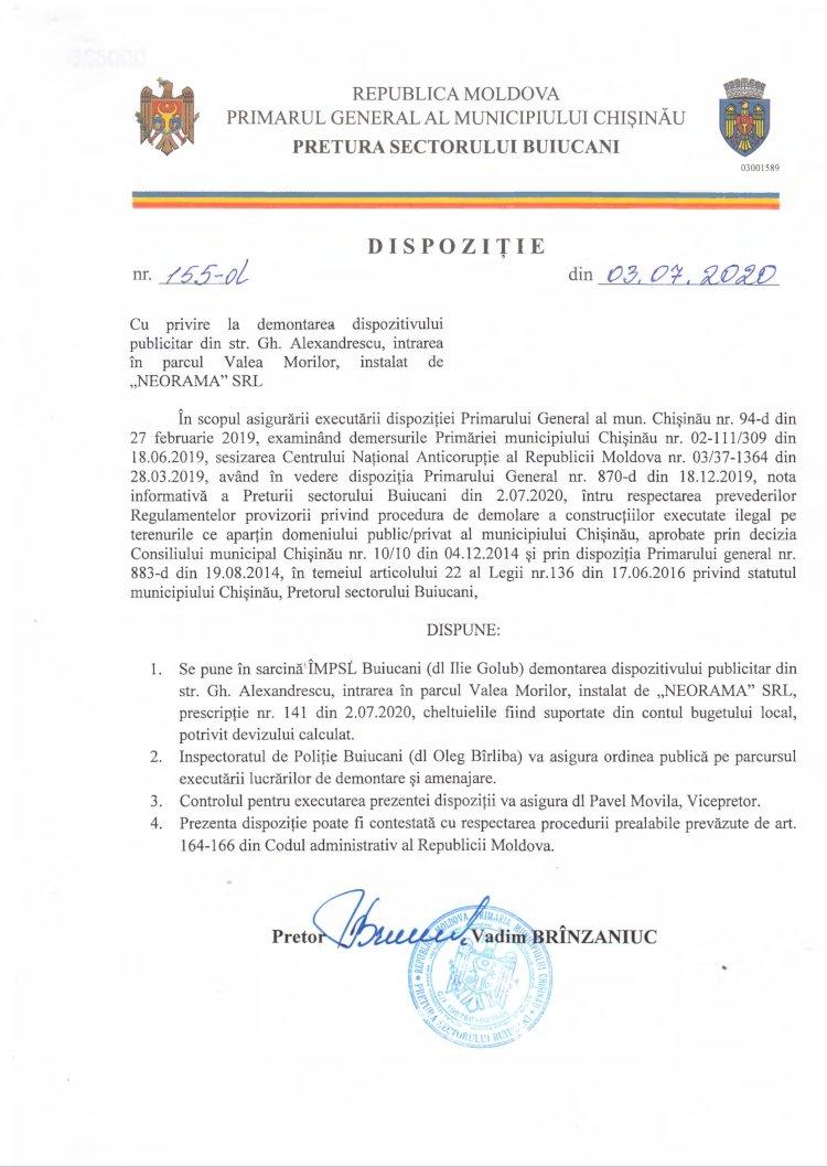 """Dispoziție nr 155-d din 03.07.2020 cu privire la demontarea dispozitivului publicitar din str. G. Alexandrescu, întrarea în parcul """"Valea Morilor"""", instalat de """"NEORAMA"""" SRL"""
