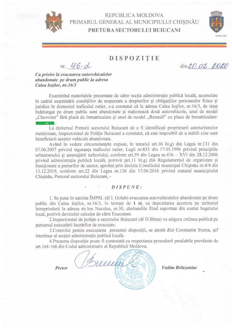 Dispoziție nr 46-d din 20.02.2020 cu privire la evacuarea autovehiculelor abandonate pe drum public la adresa str. Calea Ieșilor 16/3