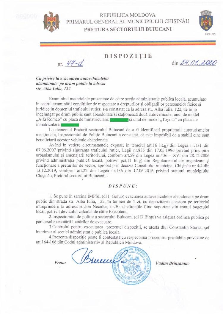 Dispoziție nr 47-d din 24.02.2020 cu privire la evacuarea autovehiculelor abandonate pe drum public la adresa str. Alba-Iulia, 122