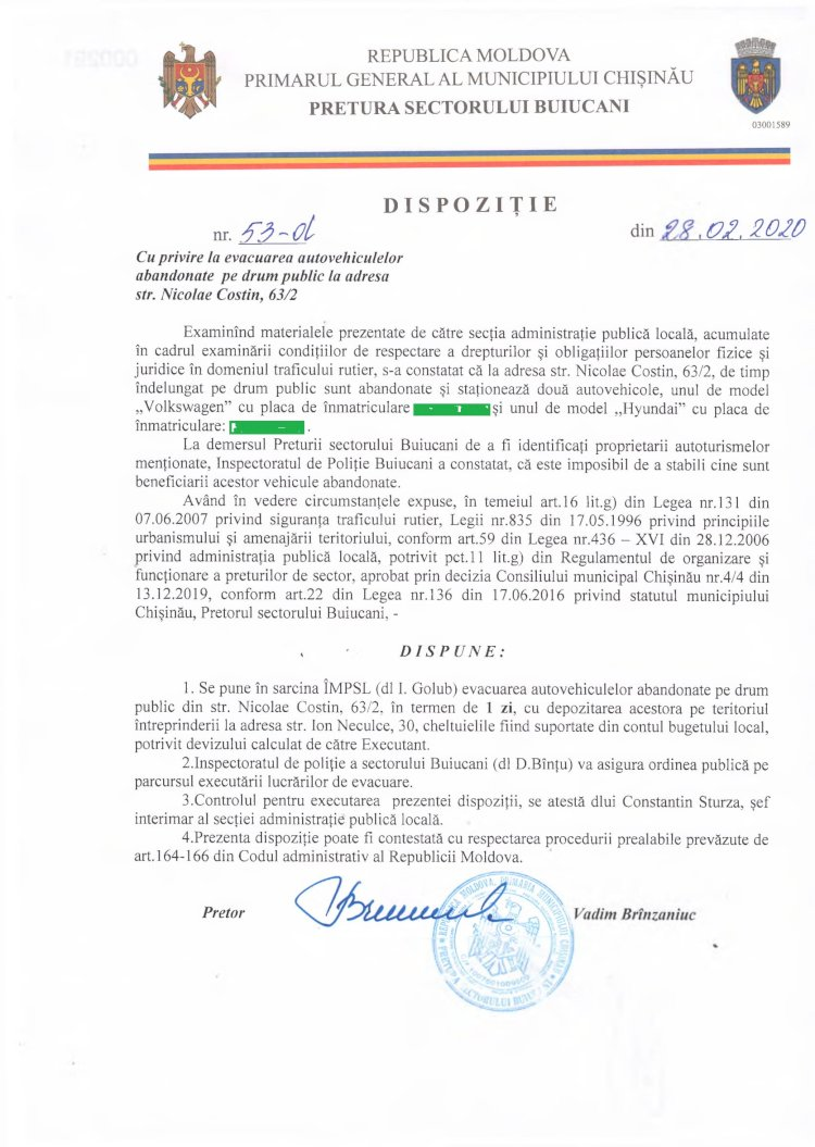 Dispoziție nr 53-d din 28.02.2020 cu privire la evacuarea autovehiculelor abandonate pe drum public la dresa str. N. Costin, 63/2