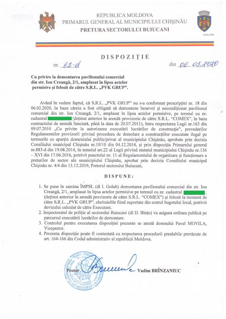 """Dispoziție nr 62-d din 06.03.2020 cu privire la demontarea pavilionului comercial din str. I. Creangă, 2/1, amplasat în lipsa actelor permisive și folosit de către SRL """"PVK GRUP"""""""