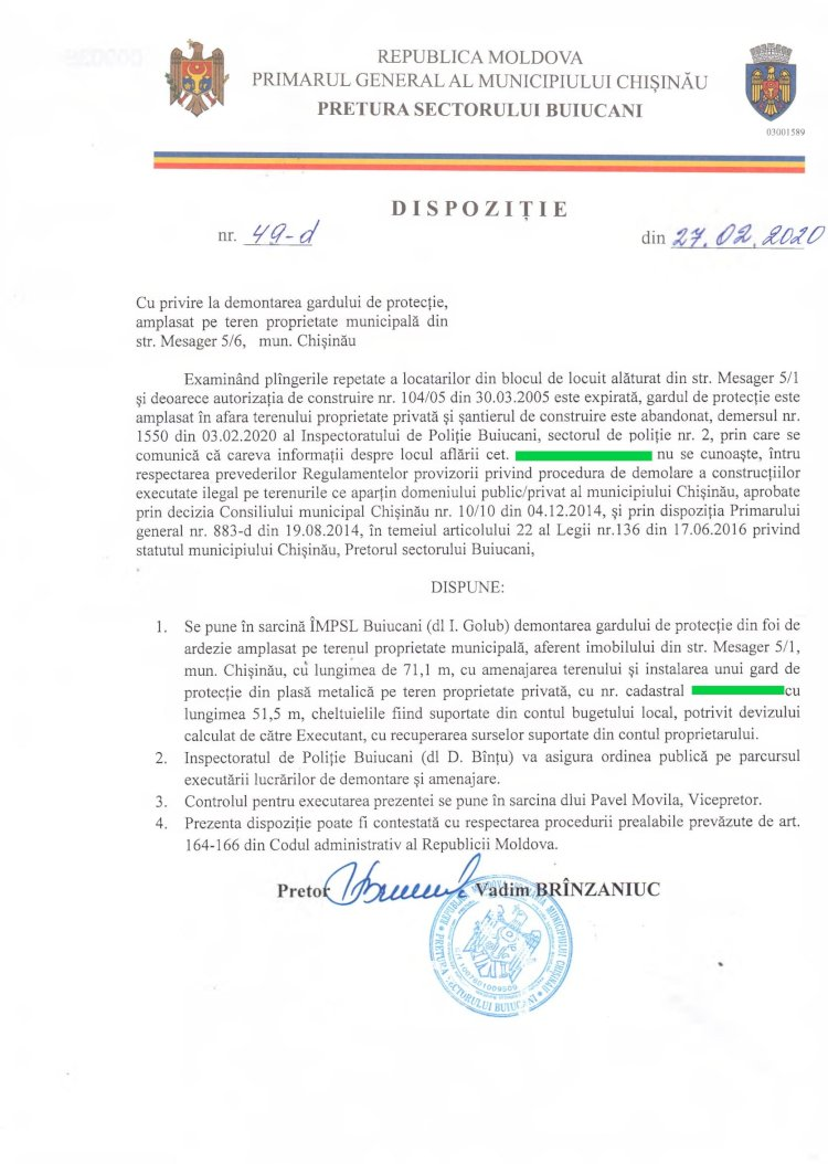 Dispoziție nr 49-d din 27.02.2020 cu privire la demontarea gardului de protecție, amplasat pe teren proprietate municipală din str. Mesager 5/6, mun. Chișinău