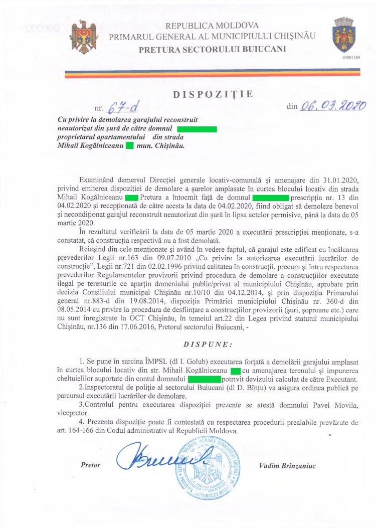 Dispoziție nr 67-d din 06.03.2020 cu privire la demolarea garajului reconstruit din șură din str. M. Kogălniceanu