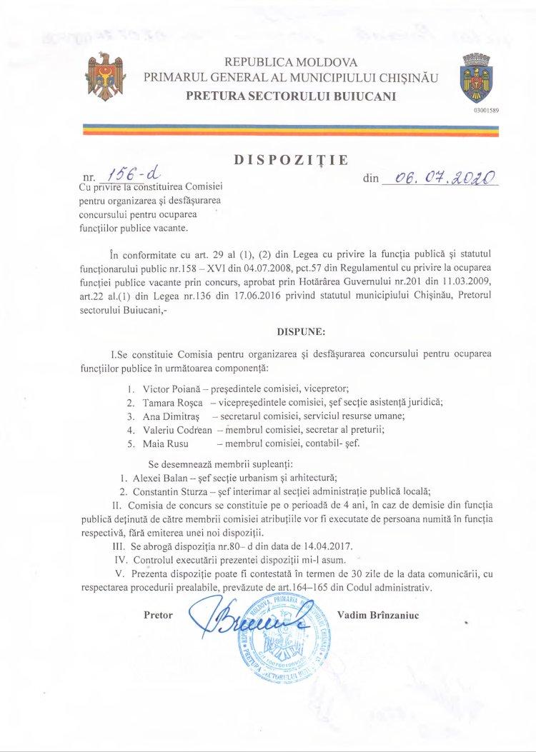 Dispoziție nr 156-d din 06.07.2020  cu privire la constituirea Comisiei pentru organizarea şi desfăşurarea concursului pentru ocuparea funcţiilor publice vacante.
