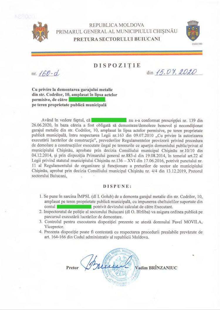 Dispoziție nr 160-d din 15.07.2020 cu privire la demontarea garajului metalic din str. Codrilor, 10, amplasat în lipsa actelor permisive, pe teren proprietate publică municipală