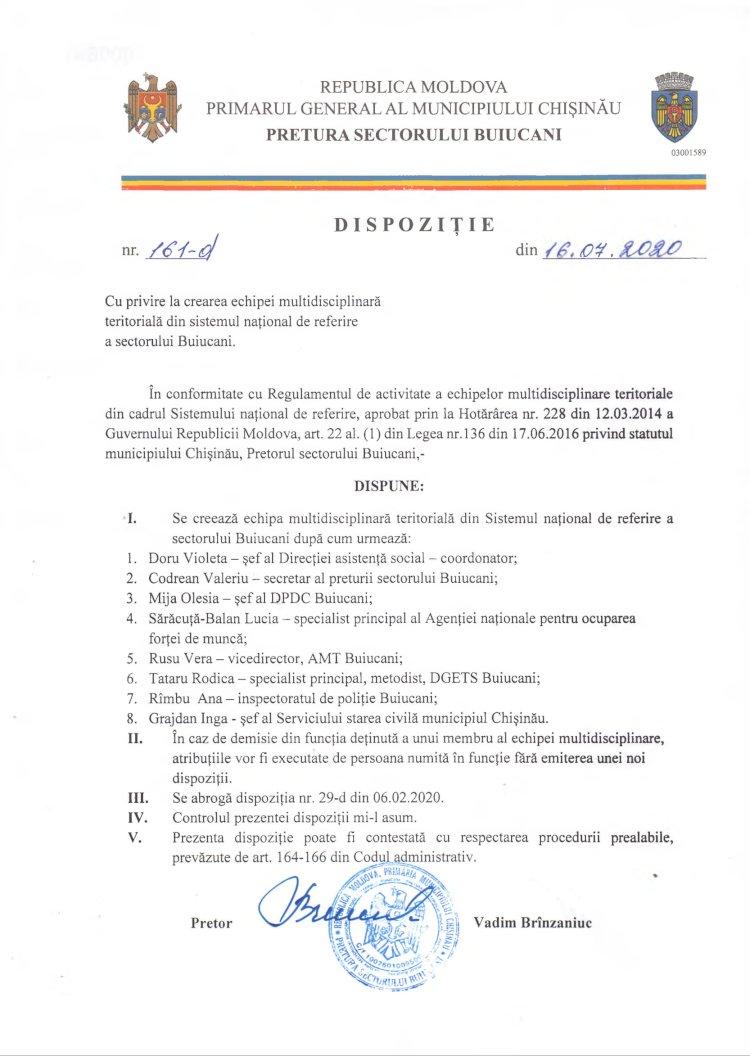 Dispoziție nr 161 din 16.07.2020 cu privire la crearea echipei multidisciplinară teritorială din sistemul naţional de referire a sectorului Buiucani