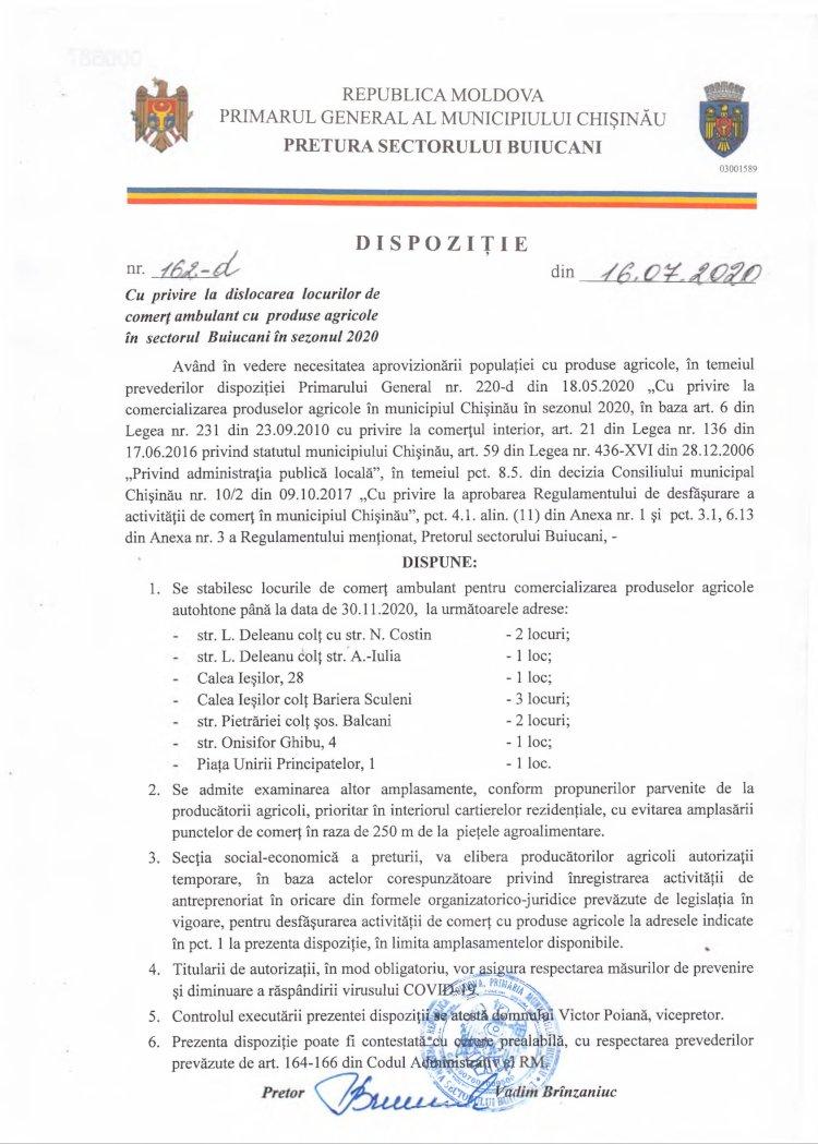Dispoziție nr 162-d din 16.07.2020 cu privire la dislocarea locurilor de comerţ ambulant cu produse agricole în sectorul Buiucani în sezonul 2020