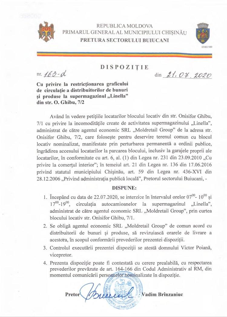 """Dispoziție nr 163-d din 21.07.2020 cu privire la restricţionarea graficului de circulaţie a distribuitorilor de bunuri şi produse la supermagazinul """"Linella"""" din str. O. Ghibu, 7/2"""