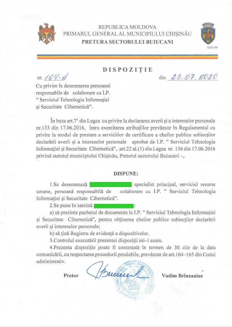 """Dispoziție nr 164-d din 23.07.2020 cu privire la desemnarea persoanei responsabile de colaborare cu I.P. """" Serviciul Tehnologia Informaţiei si Securitate Cibernetică"""