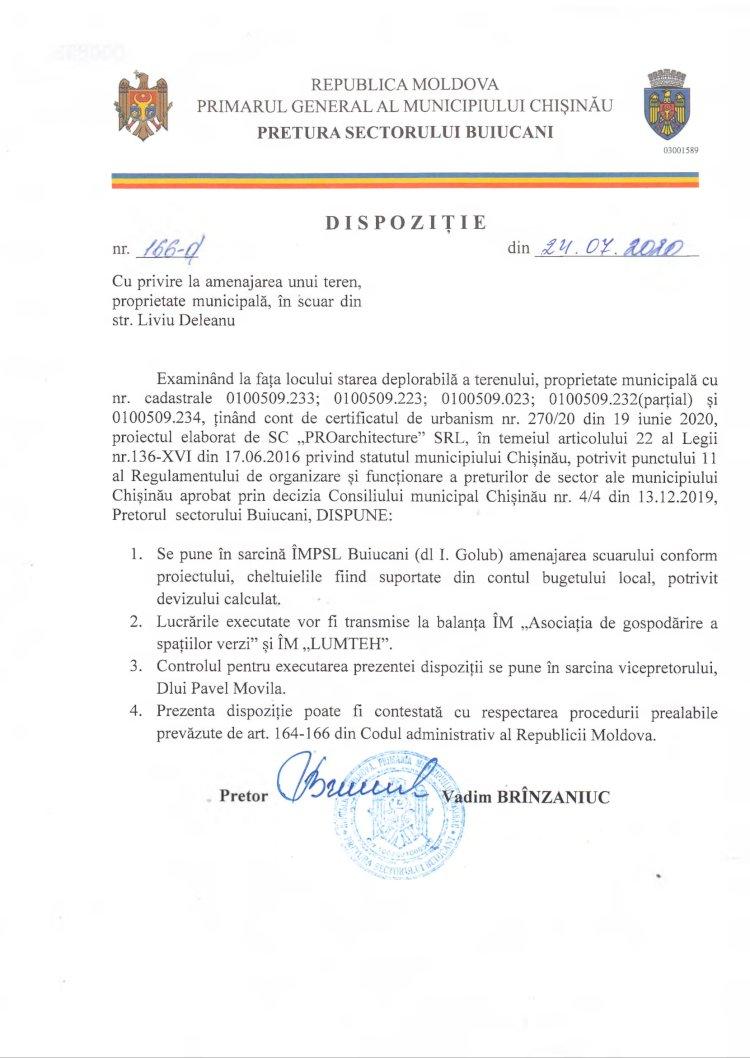 Dispoziție nr 166-d din 24.07.2020 cu privire la amenajarea unui teren, proprietate municipală, în scuar din str. Liviu Deleanu