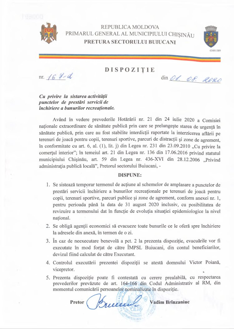 Dispoziție nr 167-d din 01.08.2020 cu privire la sistarea activităţii punctelor de prestări servicii de închiriere a bunurilor recreaţionale
