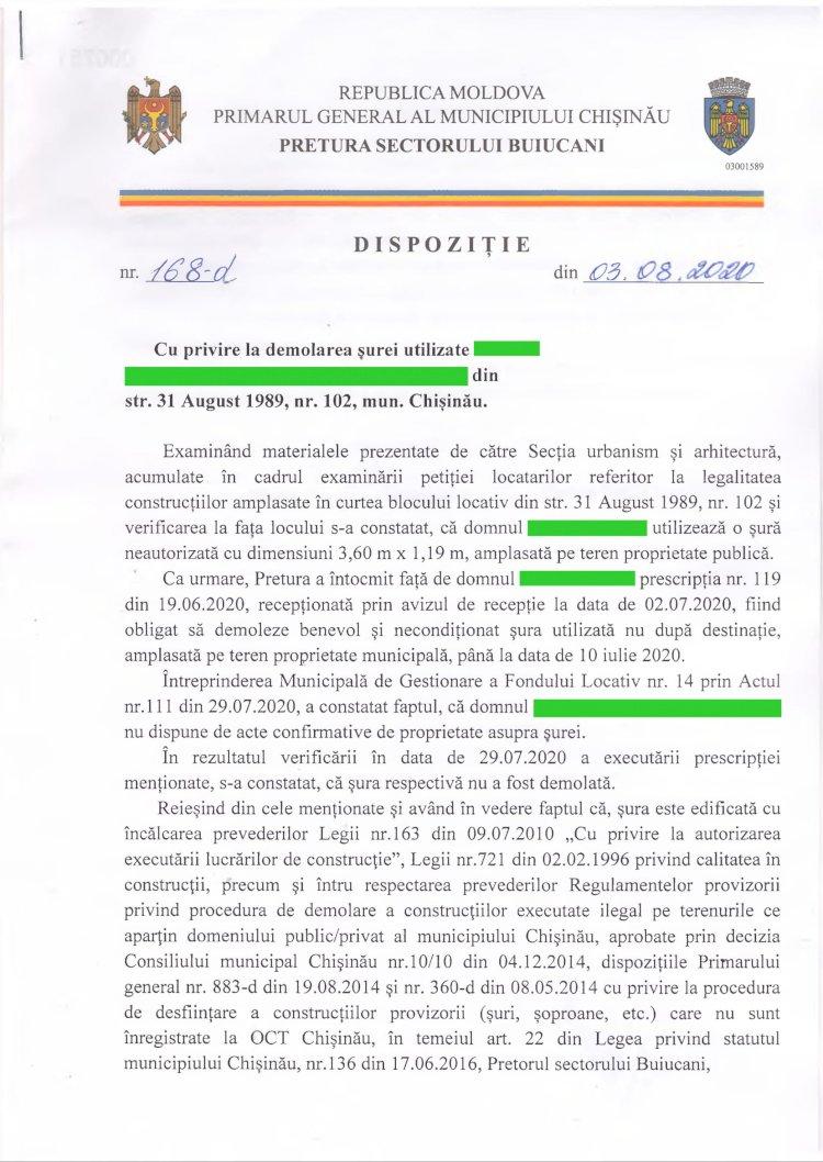 Dispoziție nr 168-d din 03.08.2020 cu privire Ia demolarea surei din str. 31 August 1989 mun. Chişinău